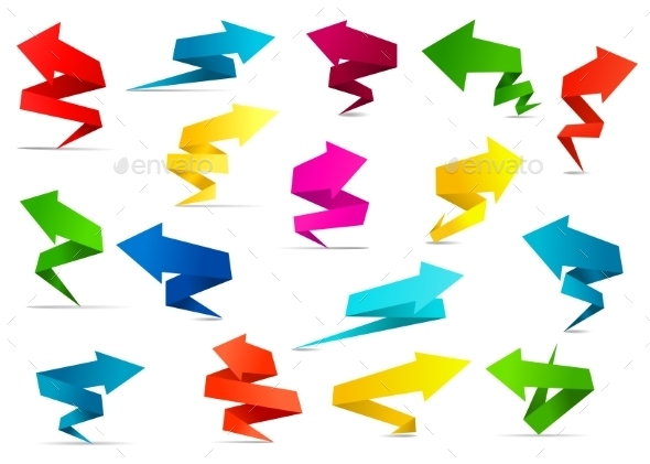 Twisted Arrow Banners in Origami Style - Web Elements Vectors