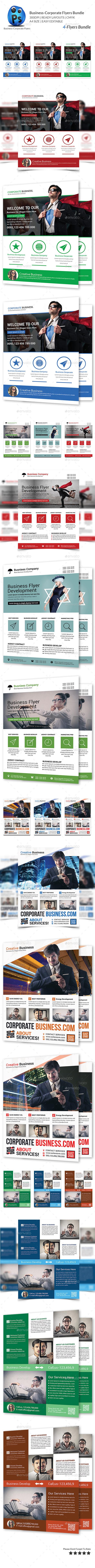 Corporate Business 4 Flyer Bundle - Flyers Print Templates
