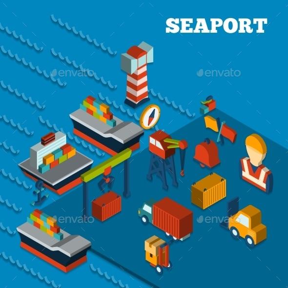 Seaport Isometric Set - Business Conceptual
