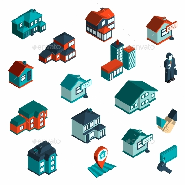 Real Estate Icon Isometric - Buildings Objects