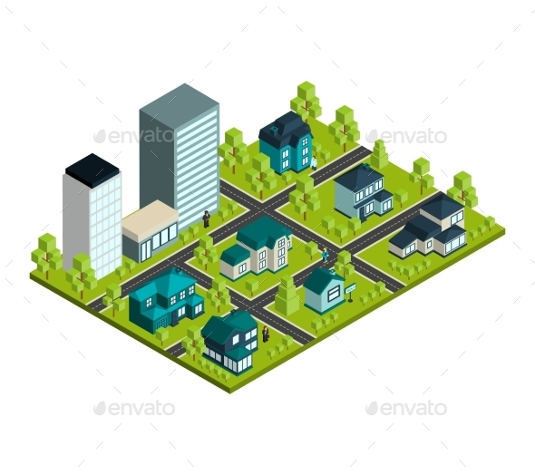 Real Estate Isometric - Buildings Objects