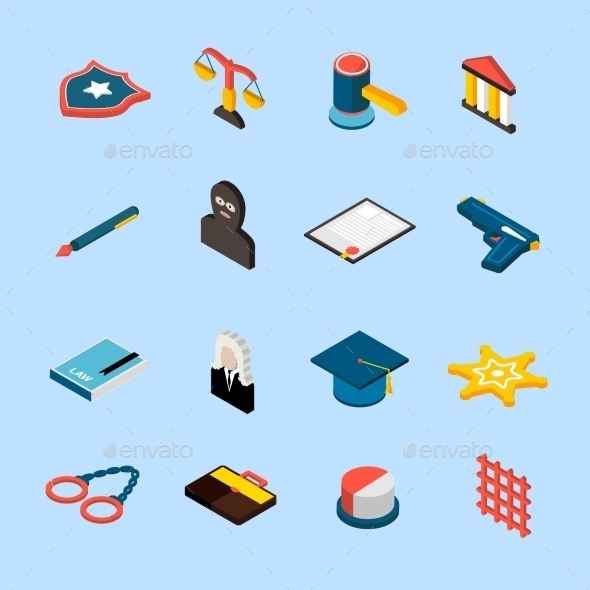 Law Icons Isometric - Conceptual Vectors