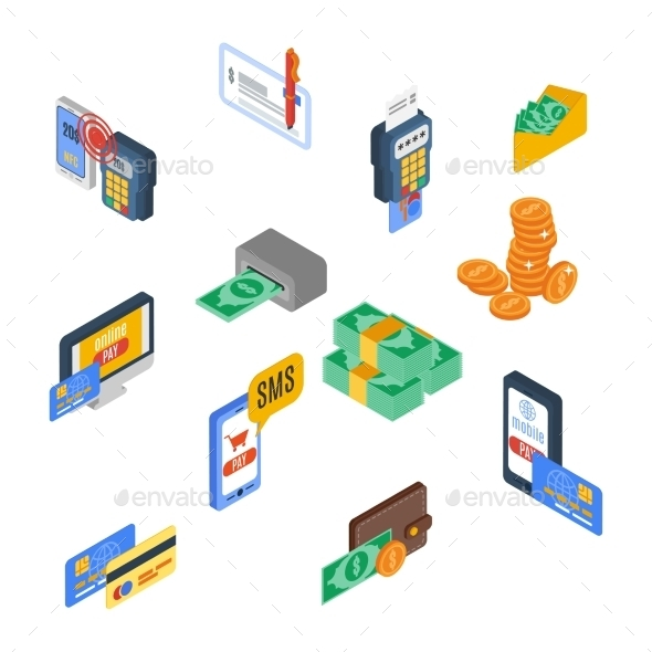Payment Icons Isometric - Business Conceptual