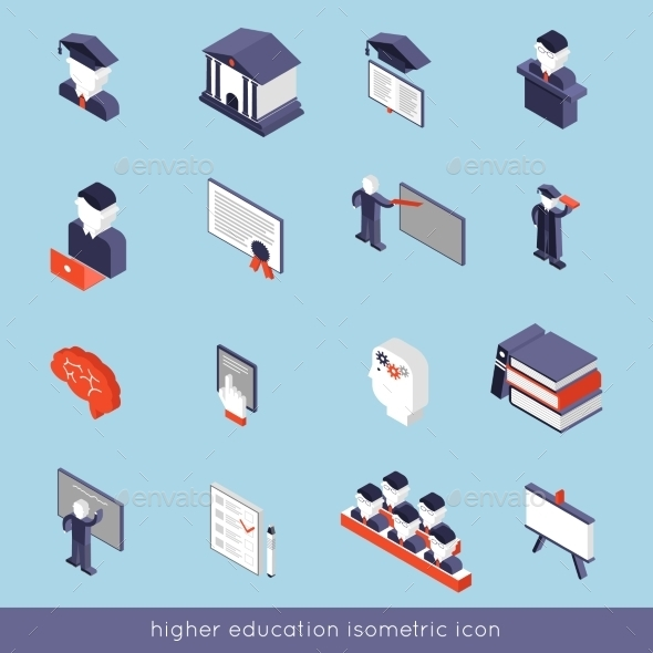 Higher Education Isometric Set - Miscellaneous Vectors