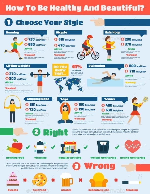 Fitness Infographics Set - Infographics