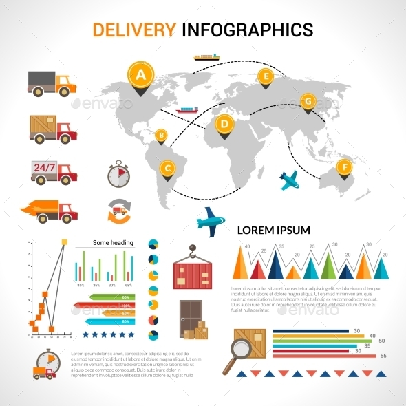 Delivery flat infographics set - Infographics