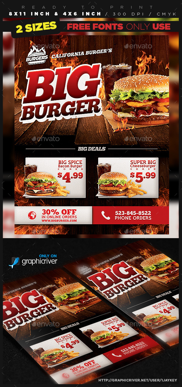 Burger Food Flyer Template - Restaurant Flyers