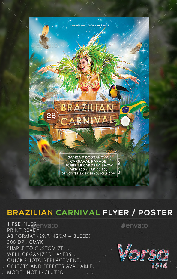 Brazilian Carnival Flyer / Poster - Clubs & Parties Events