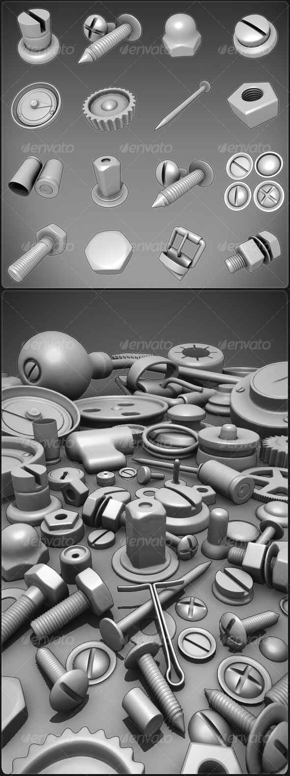 Nuts, Bolts, Screws, Misc. - 3DOcean Item for Sale