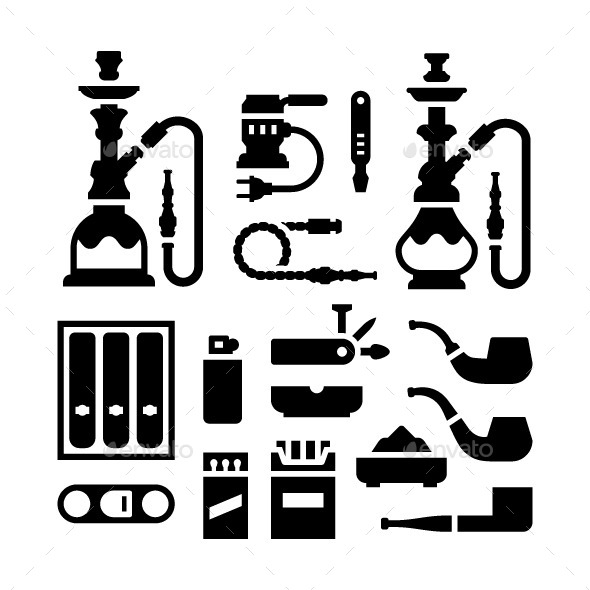 Set Icons of Smoking Equipment and Accessories - Man-made objects Objects