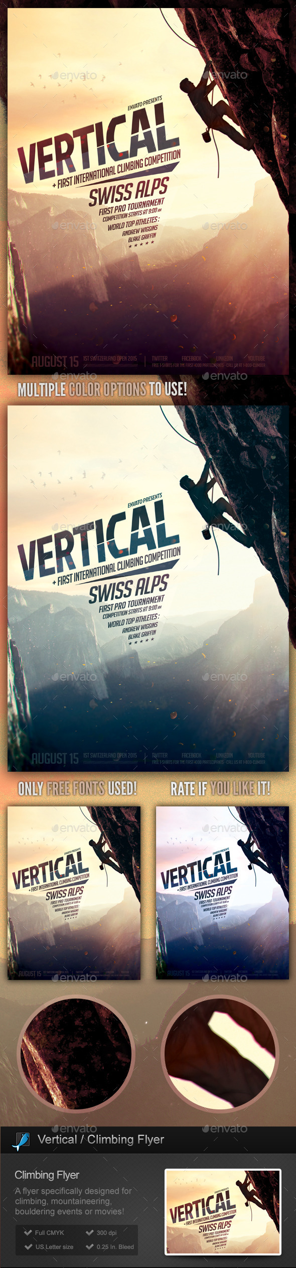 Vertical - Climbing, Bouldering Flyer Template - Sports Events