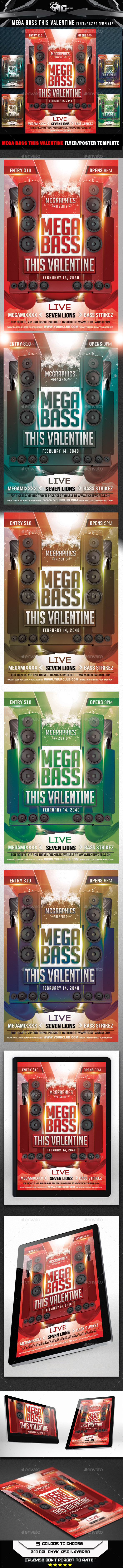 Mega Bass This Valentine Flyer Template - Flyers Print Templates