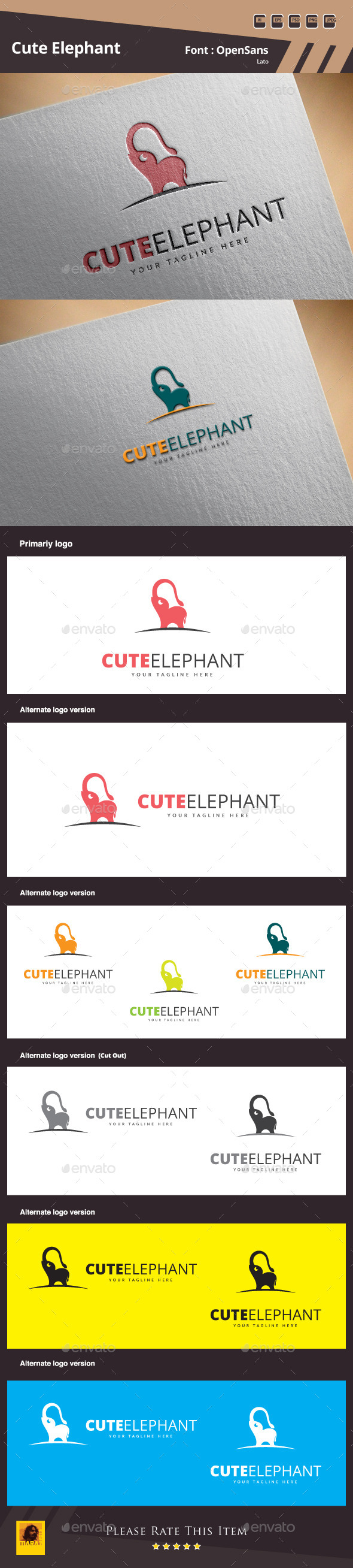 Cute Elephant Logo Template - Animals Logo Templates