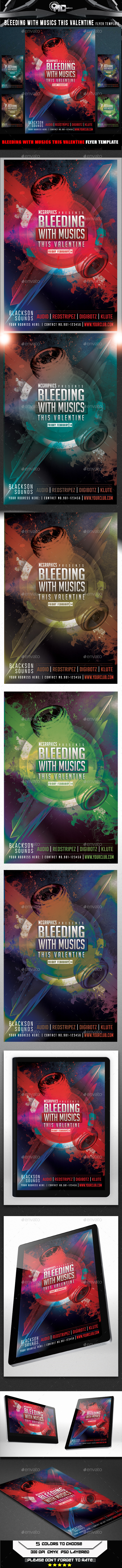 Bleeding with Musics this Valentine Flyer Template - Flyers Print Templates