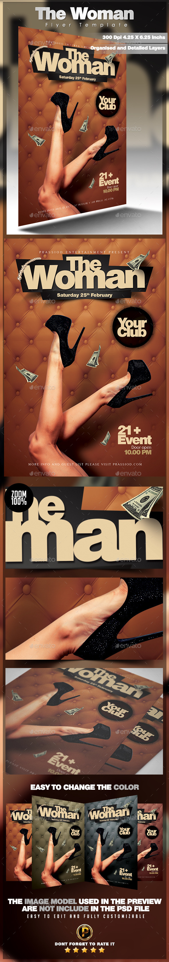 The Woman Flyer Template - Clubs & Parties Events