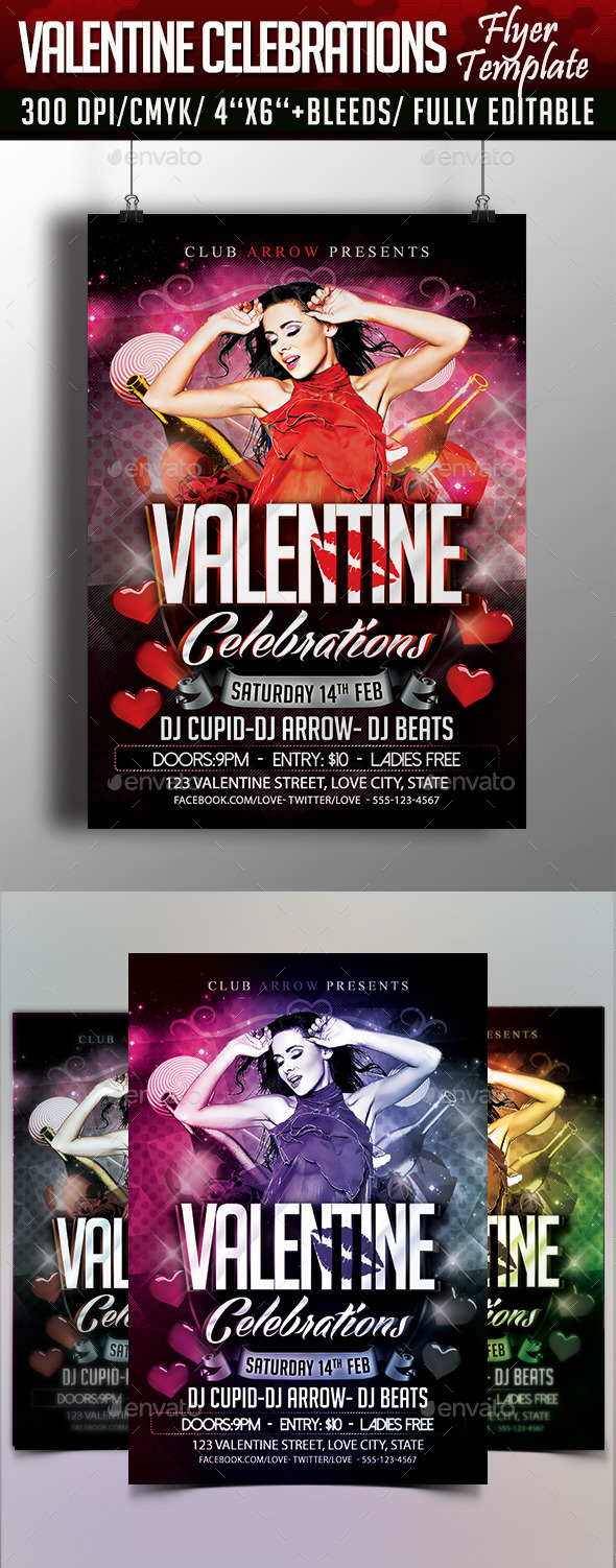 Valentine Celebrations Flyer Template - Events Flyers