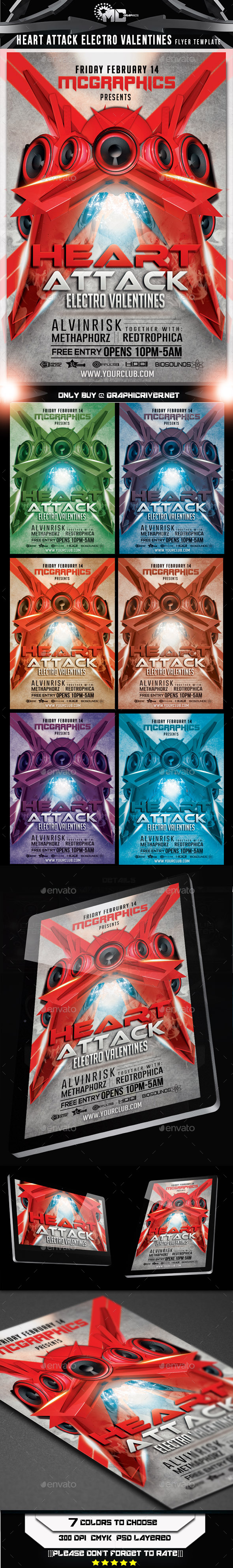 Heart Attack Electro Valentines Flyer Template - Flyers Print Templates