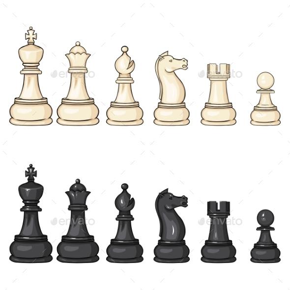 Vector Set of Cartoon Chess Figures  - Sports/Activity Conceptual