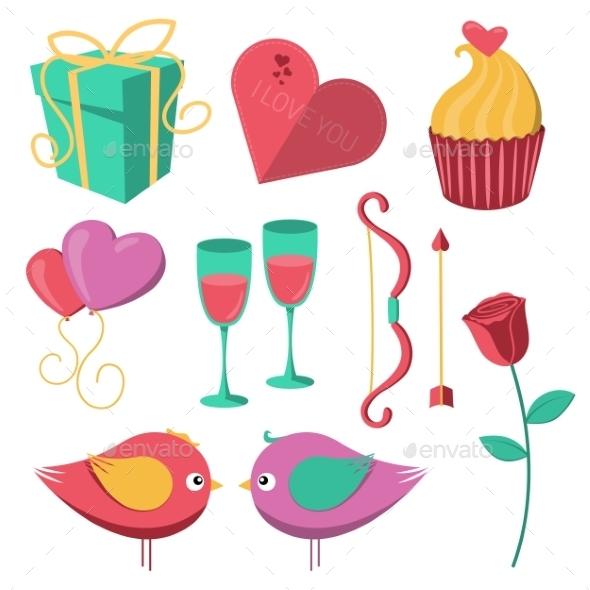 Saint Valentine's Day Objects Set. - Valentines Seasons/Holidays