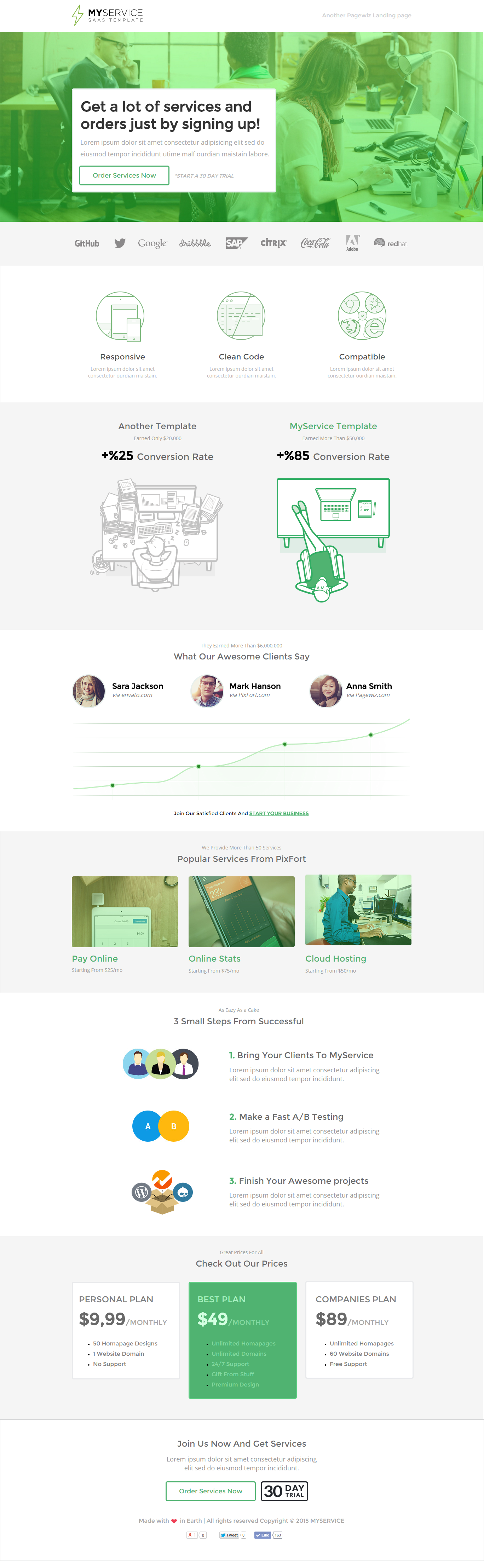 myservice saas product pagewiz landing page template by pixfort