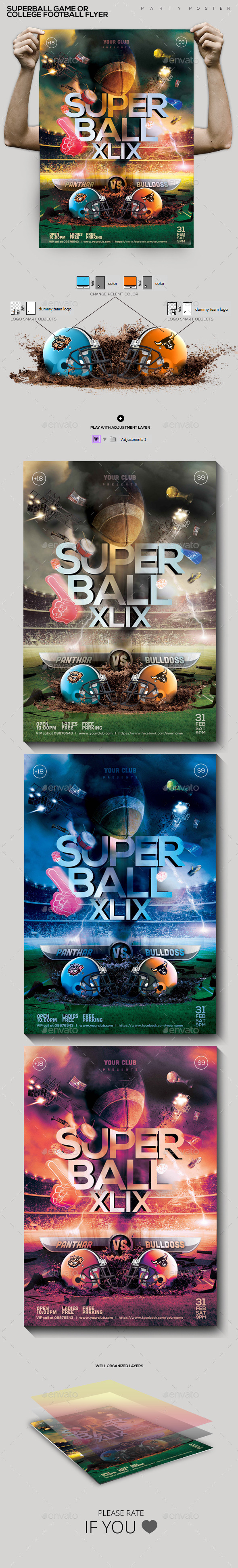 SuperBall Game or College Football Flyer  - Sports Events