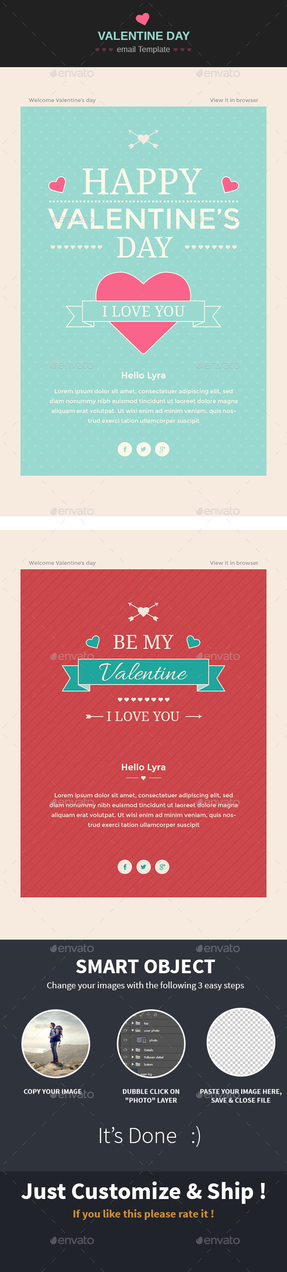 Happy Valentine wishes Email Template - E-newsletters Web Elements