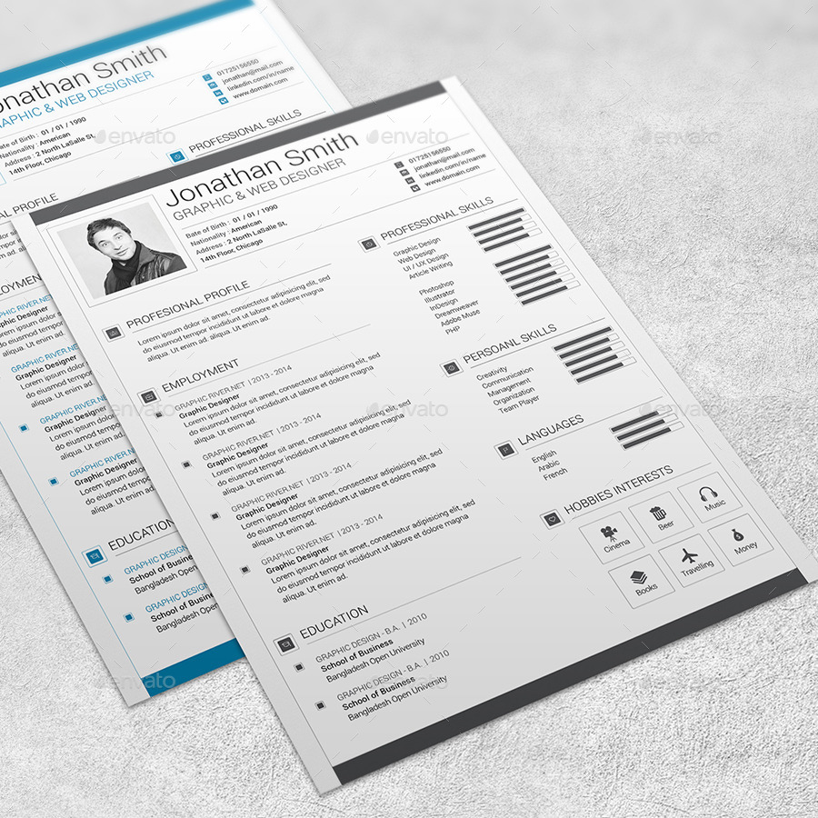 Modern Resume Template - 02 by marufstudio | GraphicRiver