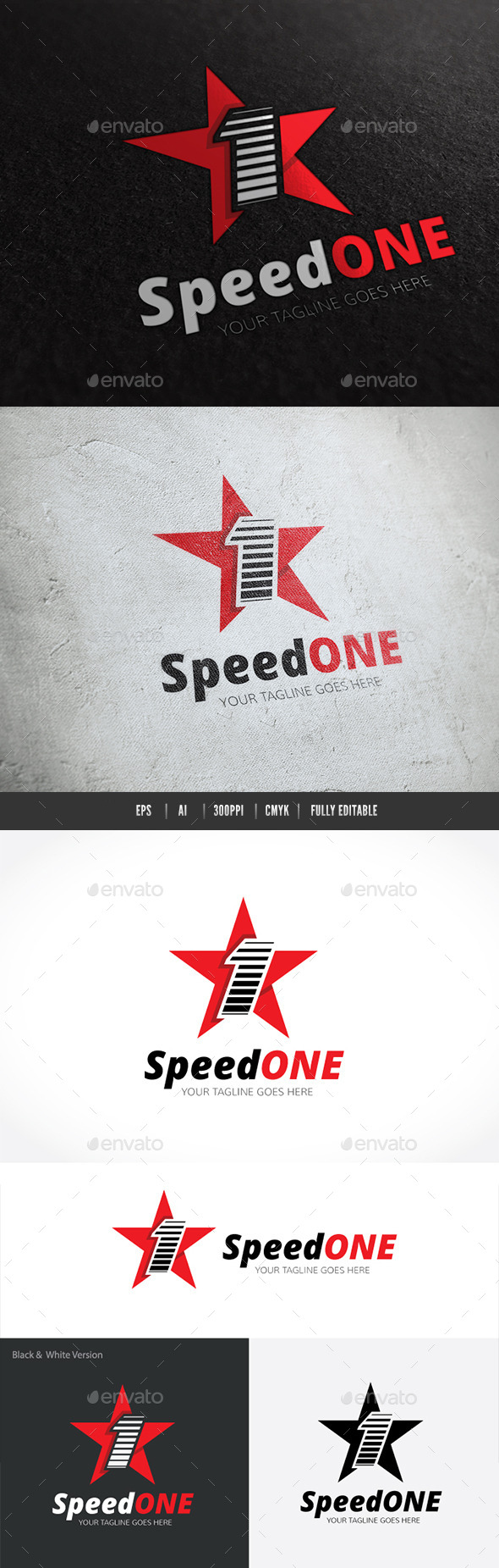 Speed One - Numbers Logo Templates
