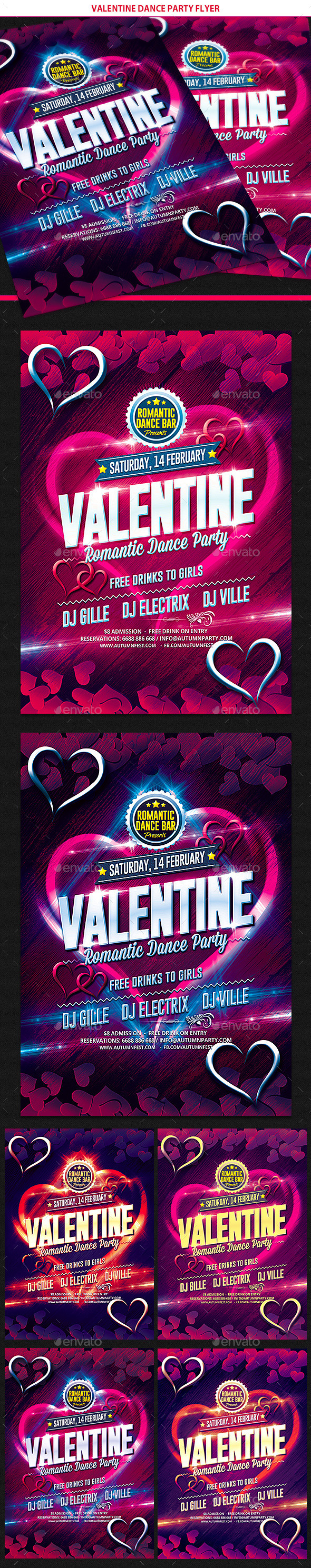 Valentines Day Dance Party Flyer - Clubs & Parties Events