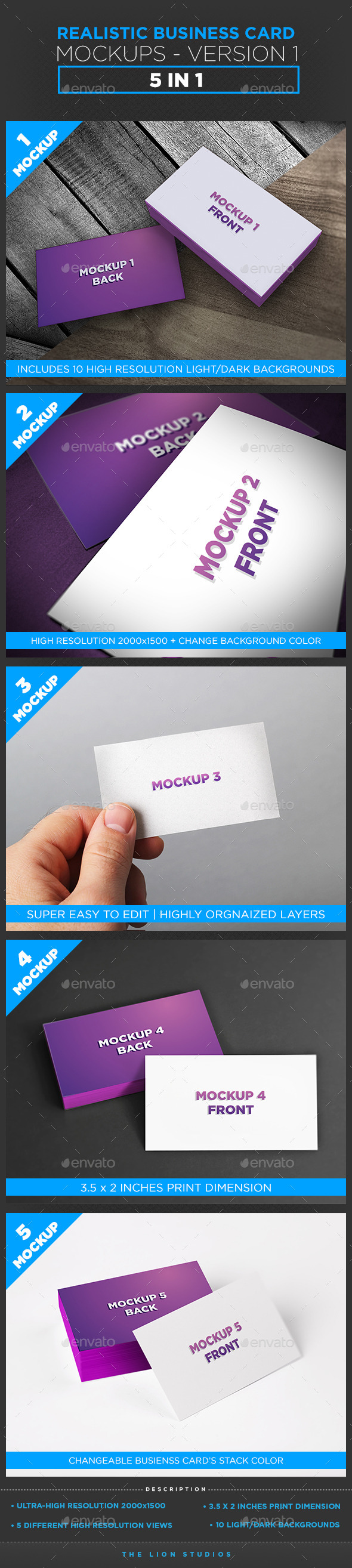 Realistic Business Card Mockups - Version 1 - Business Cards Print