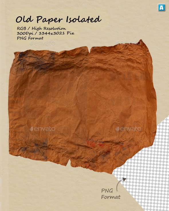 Old Paper Texture 0069 - Isolated Objects