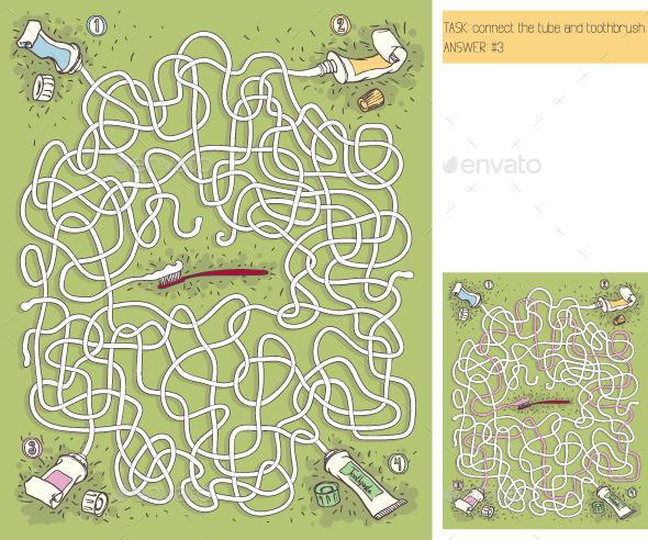 Toothpaste Maze Game - Health/Medicine Conceptual
