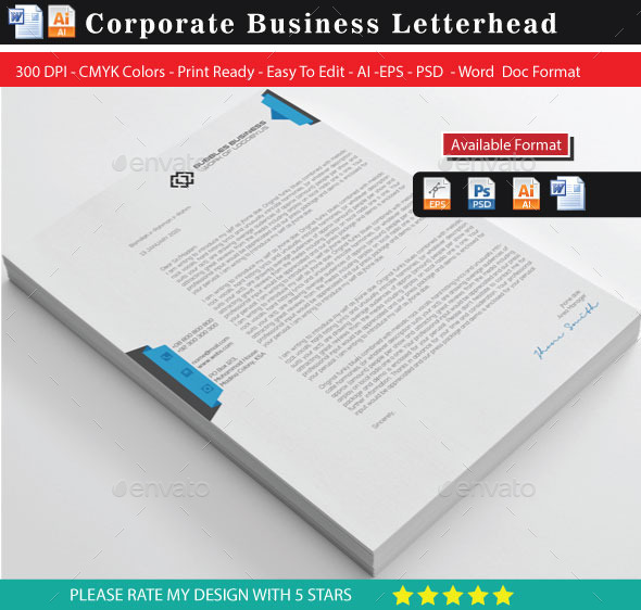 Creative & Modern Letterhead with Word Docx - Stationery Print Templates