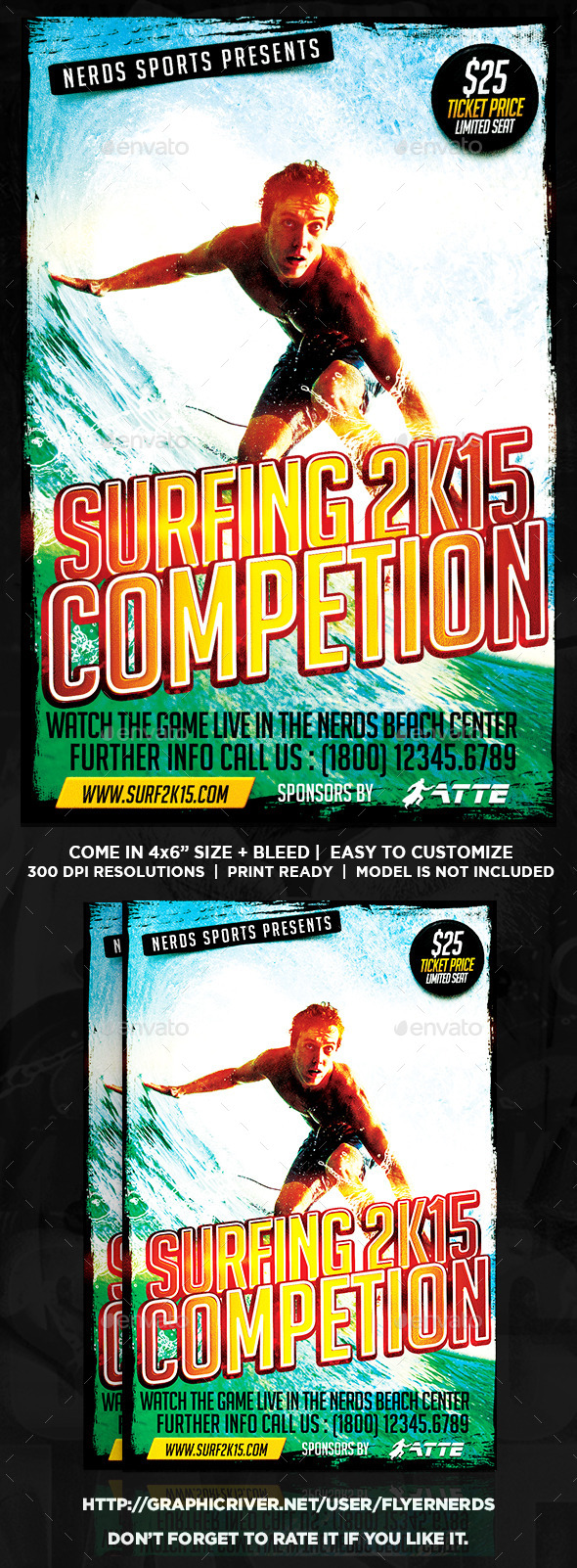 Surfing 2K15 Competition Sports Flyer - Sports Events