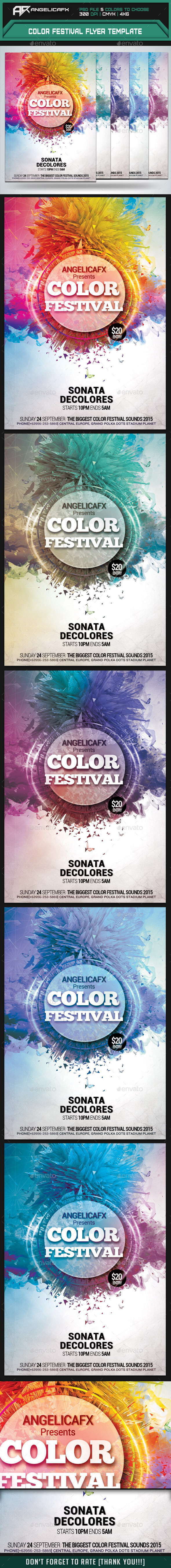 Color Festival Flyer Template - Flyers Print Templates