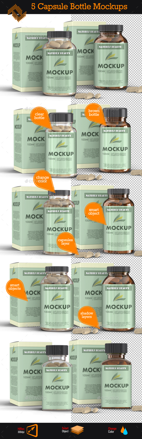 5 Supplement Capsule Bottle Mockups - Packaging Product Mock-Ups
