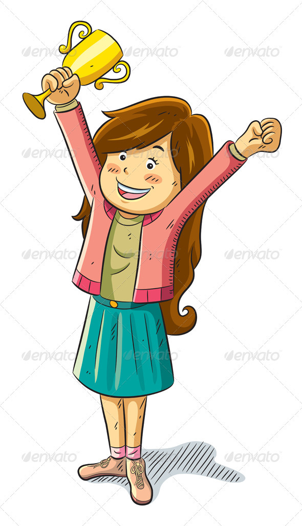 Girl Win a Trophy - People Characters
