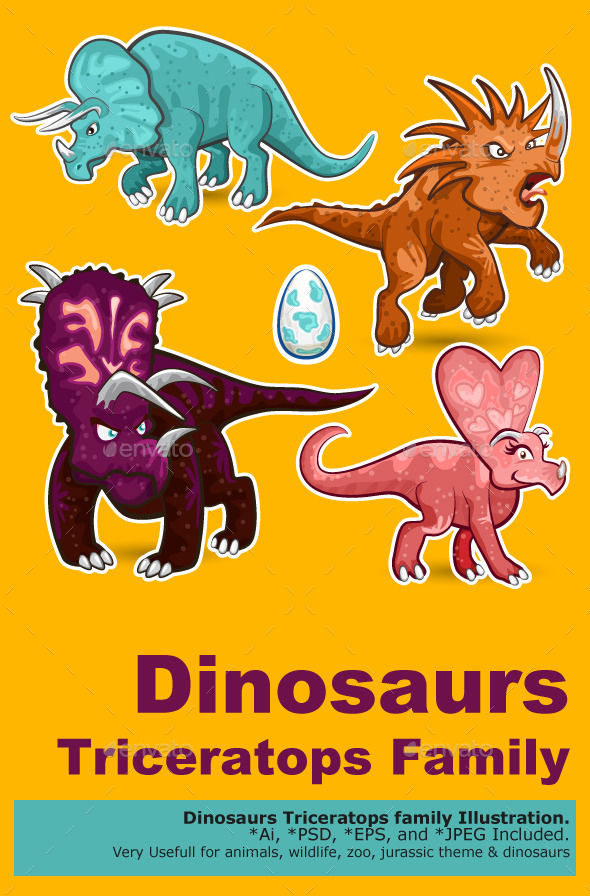 Triceratops Rhino Dinosaurs Sticker Collection Set - Animals Characters