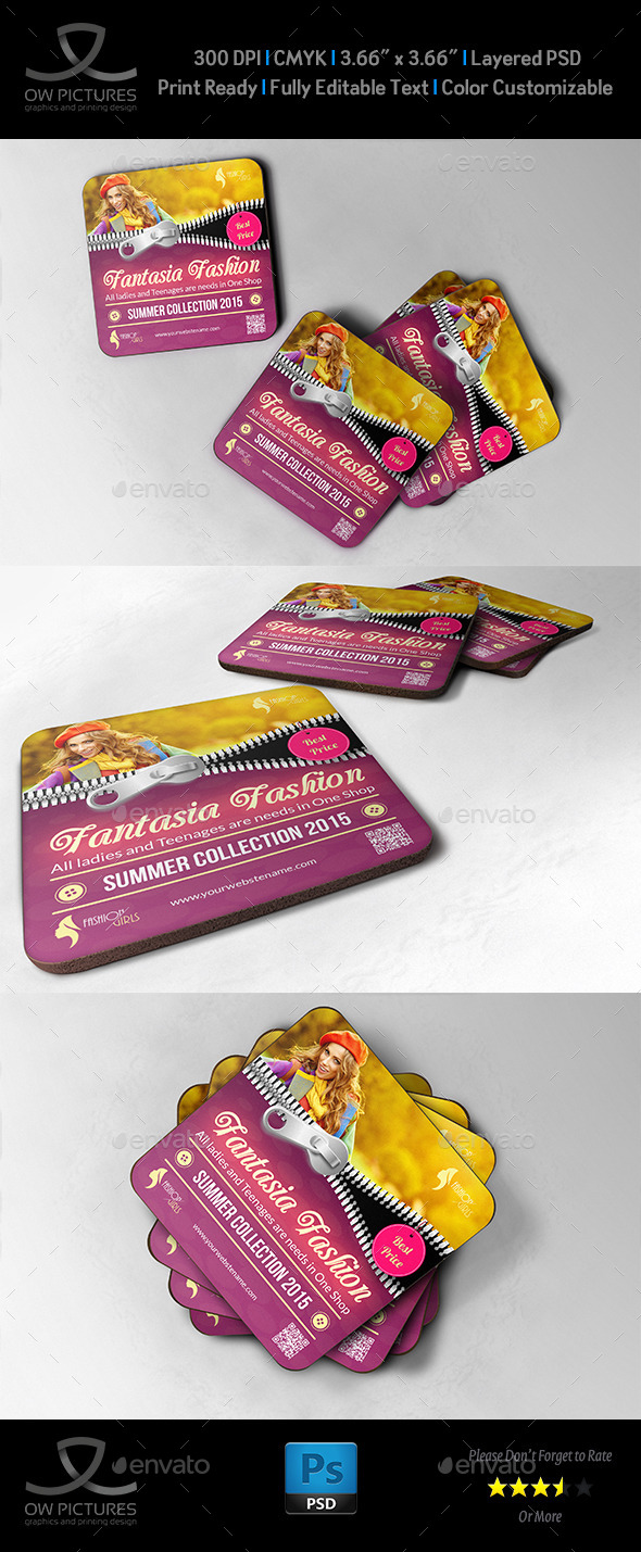 Fashion Coaster - Drink Pad Template - Miscellaneous Print Templates