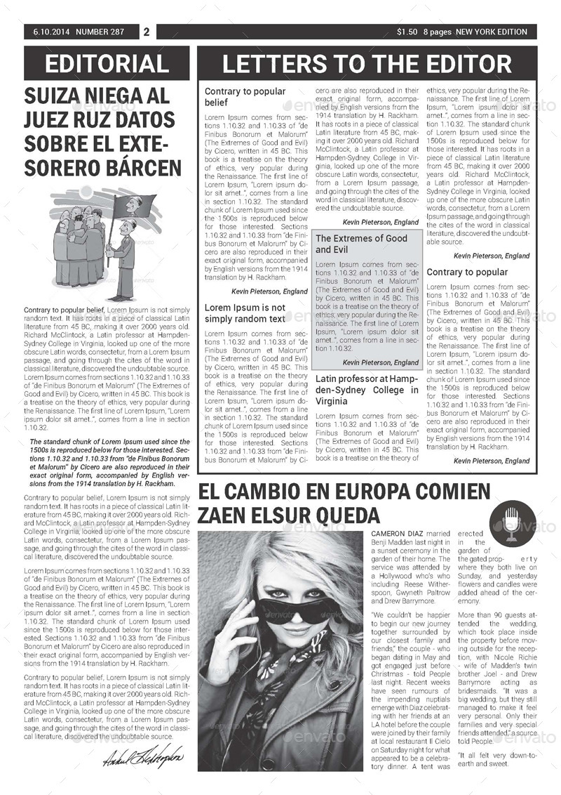 BW Newspaper Template by graphix_shiv | GraphicRiver