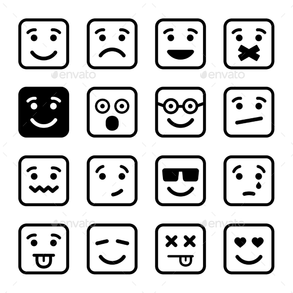 Square Smiley Faces Set Vector - Miscellaneous Characters