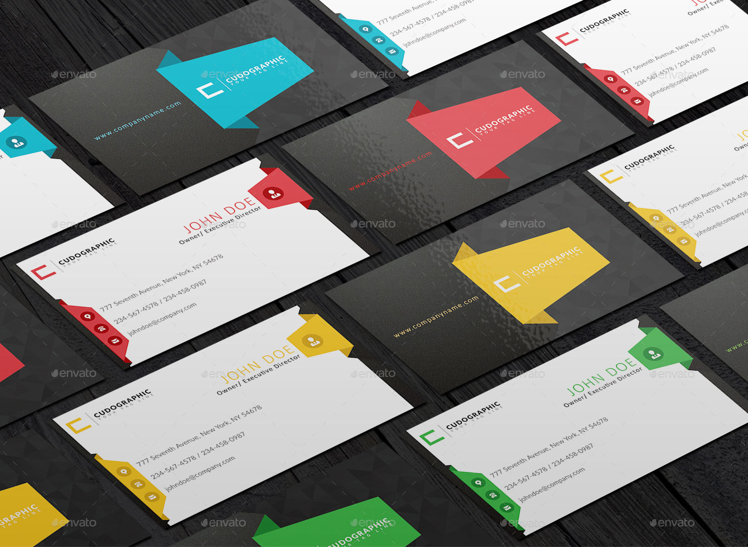 Corporate Business Cards With Multiple Colors by cudographic ...