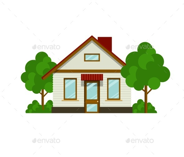 House with Trees - Buildings Objects