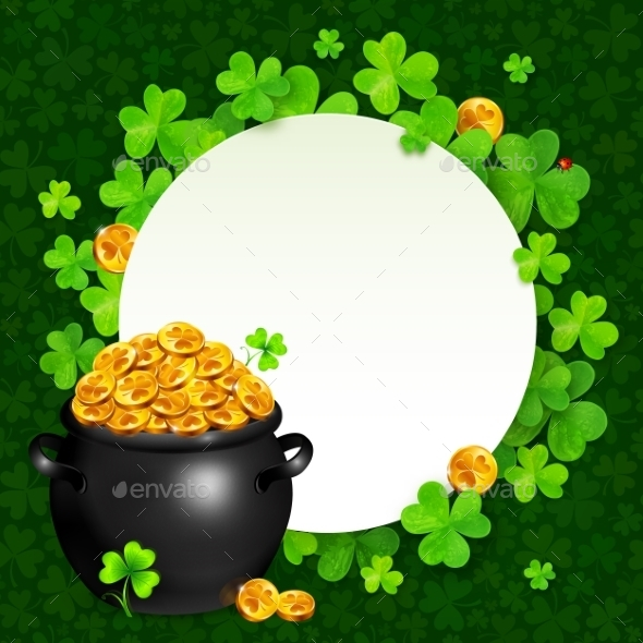 Black Pot of Magic Gold on Clovers Circle - Miscellaneous Seasons/Holidays