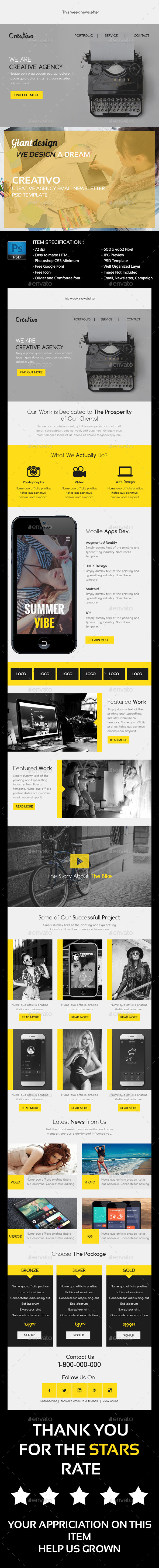 Creativo - Creative Agency Email Newsletter - E-newsletters Web Elements