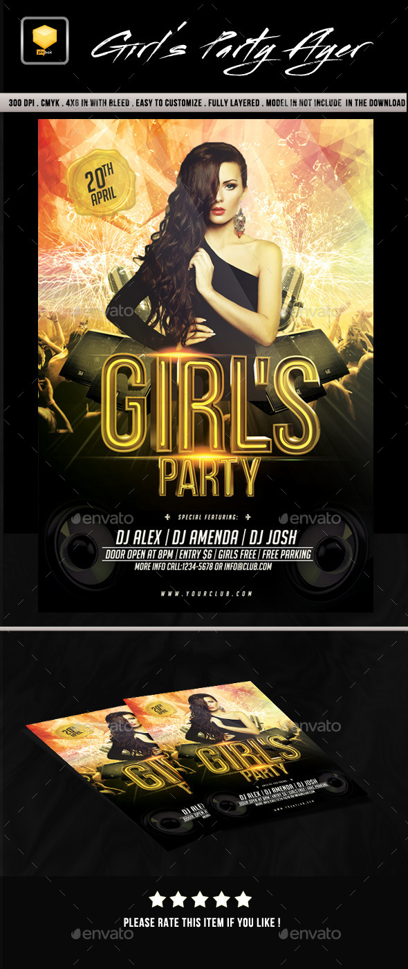 Girls Party Flyer - Events Flyers