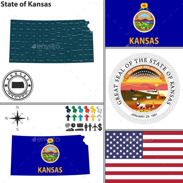 Map of State Kansas, USA - Travel Conceptual