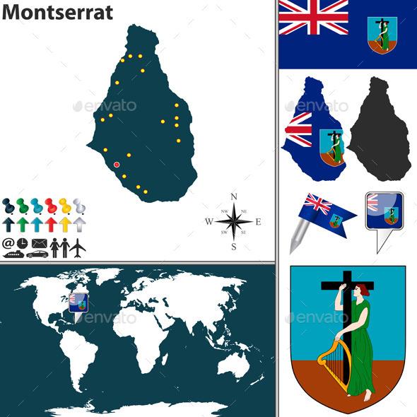Map of Montserrat - Travel Conceptual
