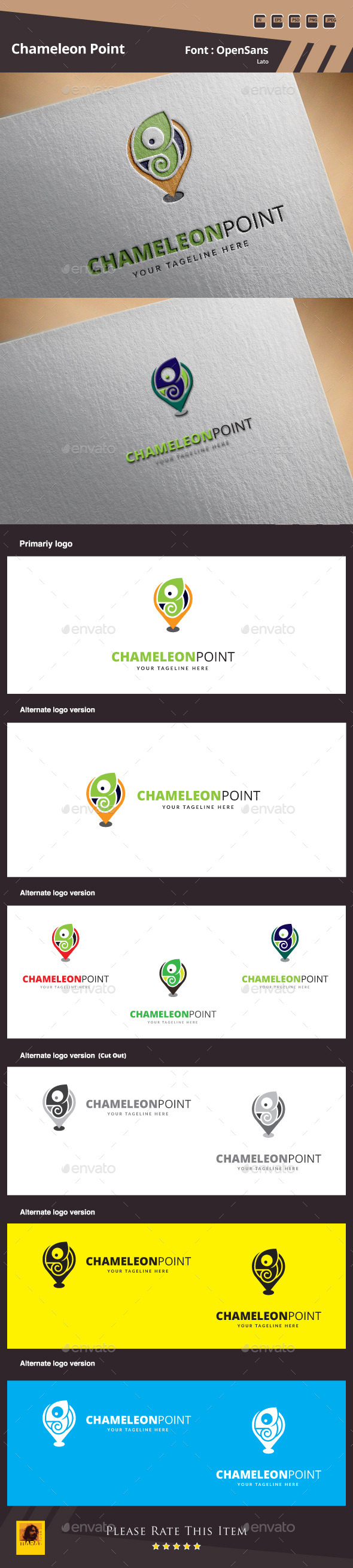 Chameleon Point Logo Template - Animals Logo Templates