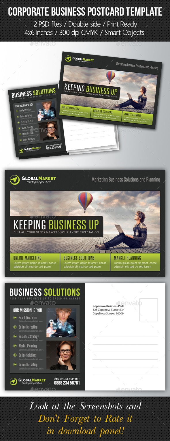 Corporate Business Postcard Template V02 - Cards & Invites Print Templates